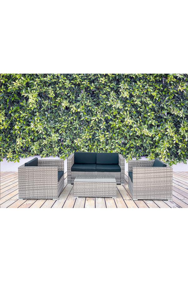 Rattanowe meble ogrodowe dla 4 osób - doskonałe miejsce na odpoczynek z bliskimi.