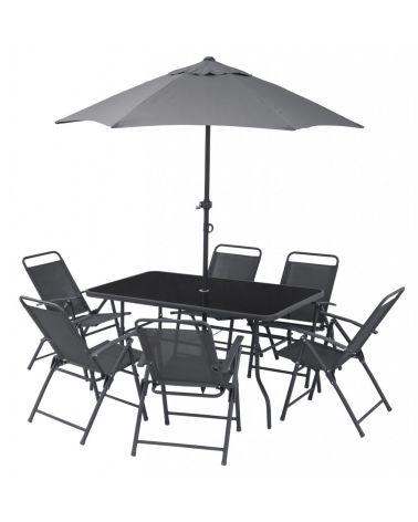 Zestaw mebli ogrodowych dla 6 osób zawiera stół z parasolem oraz 6 krzeseł.