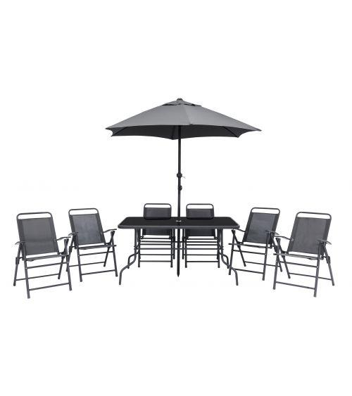 Zestaw ogrodowy - stół ogrodowy z parasolem ogrodowym oraz rozkładanymi krzesłami.
