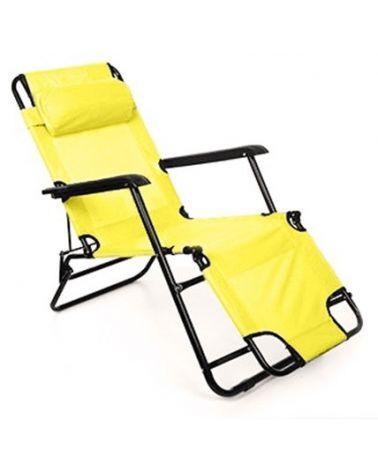 Żółty leżak plażowy z wariantem 3 pozycji.
