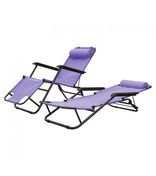 Fioletowy leżak ogrodowy z poduszką i podłokietnikami.