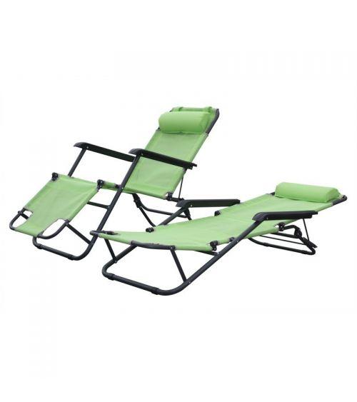 Zielony leżak do ogrodu z zagłówkiem i możliwością zmiany pozycji.