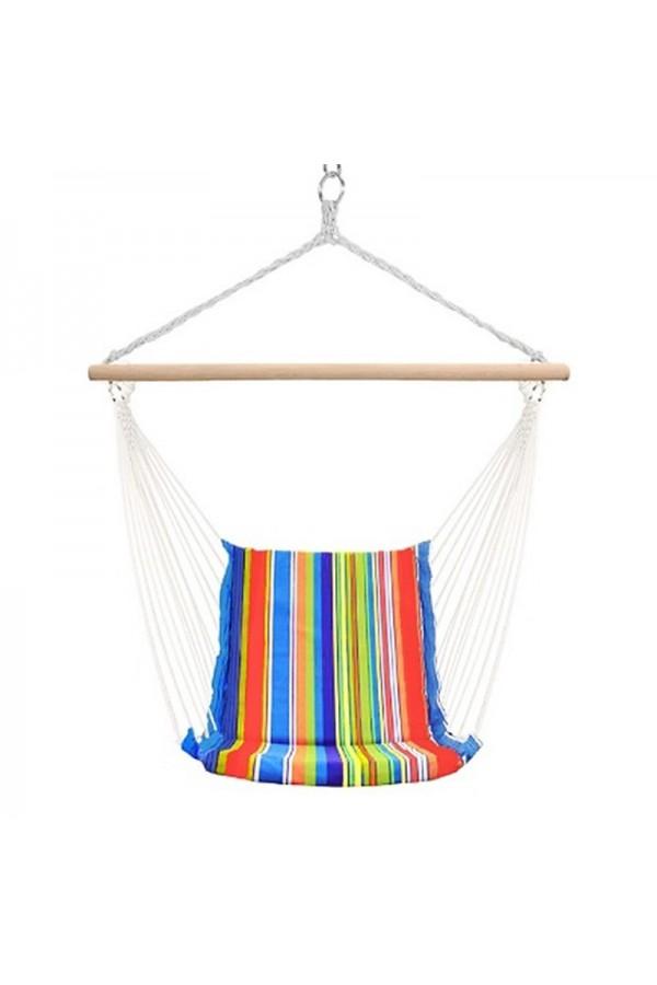 Fotel wiszący kolorowy to doskonałe miejsce na relaks na świeżym powietrzu,