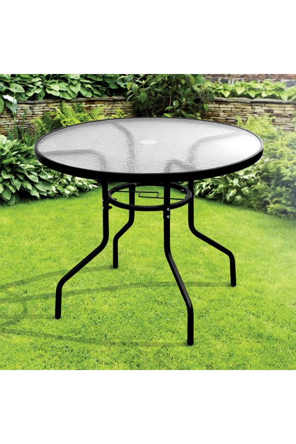 Szklany stolik do ogrodu z otworem na parasol i wmontowanym stabilizatorem.