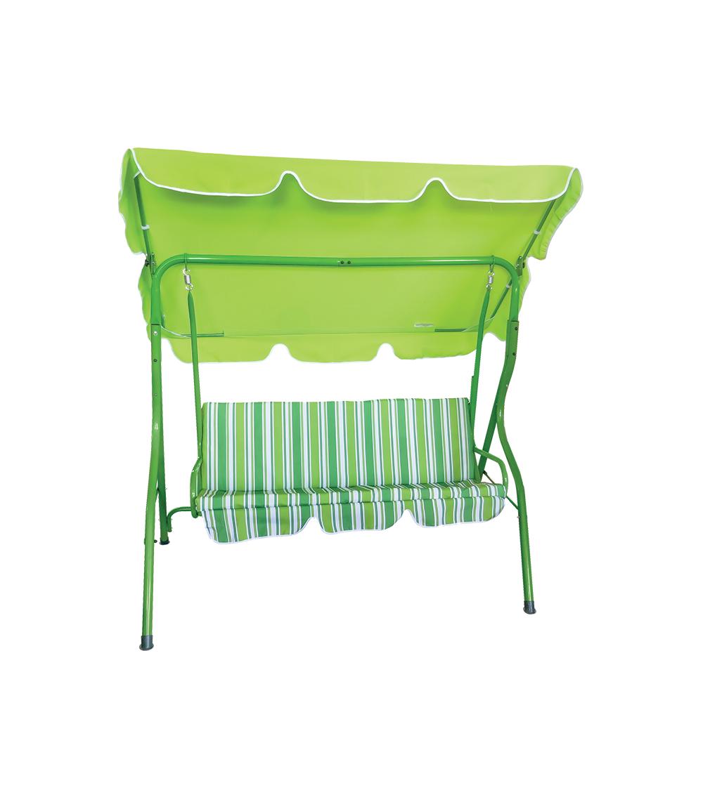 Zielona huśtawka ogrodowa z regulowanym daszkiem.