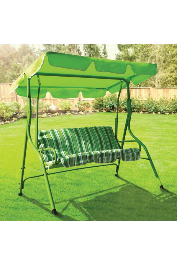 3-osobowa huśtawka do ogrodu w kolorze zielonym