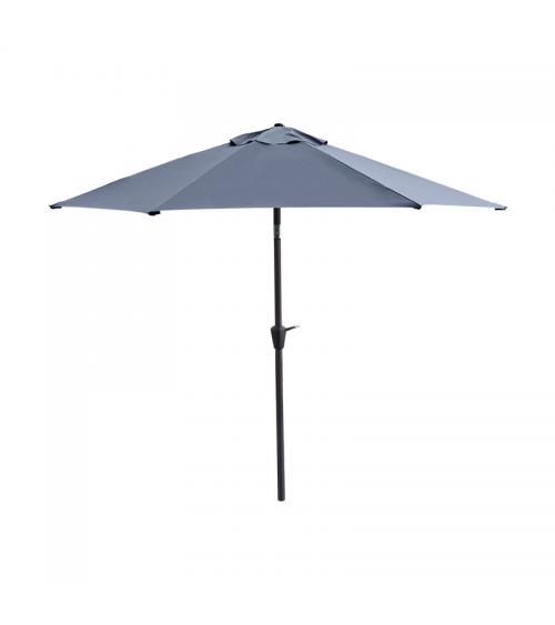 Duży parasol ogrodowy w kolorze grafitowym z szeroką czaszą wzmocnioną konstrukcją 6-żebrową.