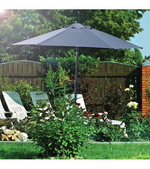 Grafitowy parasol do ogrodu umożliwia stworzeni idealnie zacienionego miejsca na relaks.