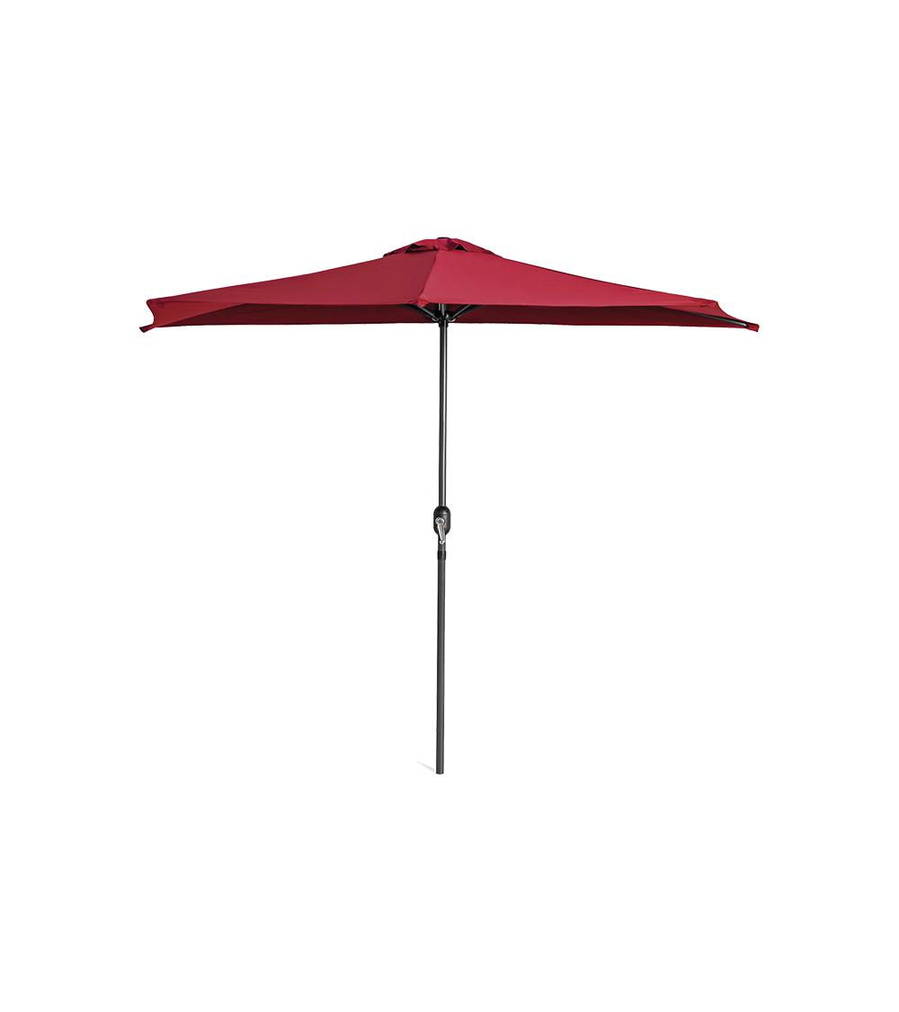 Duży parasol ogrodowy w kolorze bordowym z szeroką czaszą wzmocnioną konstrukcją 6-żebrową.