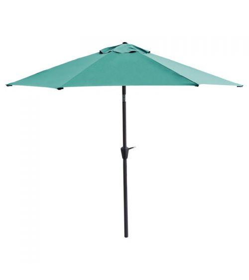 Duży parasol ogrodowy w kolorze zielonym z szeroką czaszą wzmocnioną konstrukcją 6-żebrową.