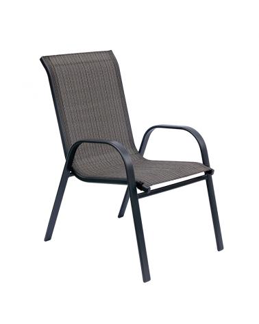 Metalowe krzesło ogrodowe w odcieniach szarości i brązu z podłokietnikami i przewiewnym oparciem.