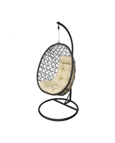 Ogrodowy fotel wiszący kokon ze stabilnym stelażem i solidnym mocowaniem kokonu.