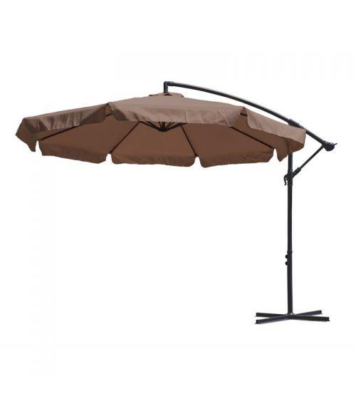 Brązowy parasol do ogrodu dzięki bocznemu wysięgnikowi pozwala na stuprocentowe wykorzystanie cienia.