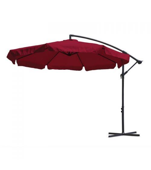 Duży parasol ogrodowy w kolorze bordowym z podstawą krzyżową i wentylacją w czaszy.