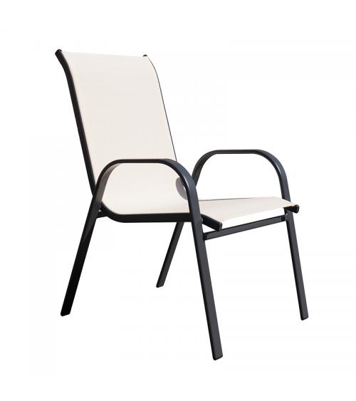 Metalowe krzesło ogrodowe w kolorze cappuccino z podłokietnikami i przewiewnym oparciem.