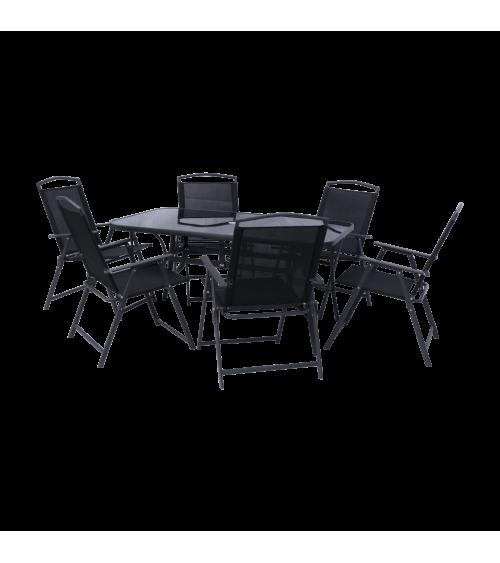 Ekskluzywne meble ogrodowe dla 6 osób zawiera stół ogrodowy oraz krzesła ogrodowe.