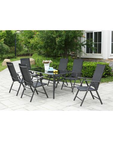Meble do ogrodu - posiłek na świeżym powietrzu - 6-osobowy zestaw stół i krzesła.