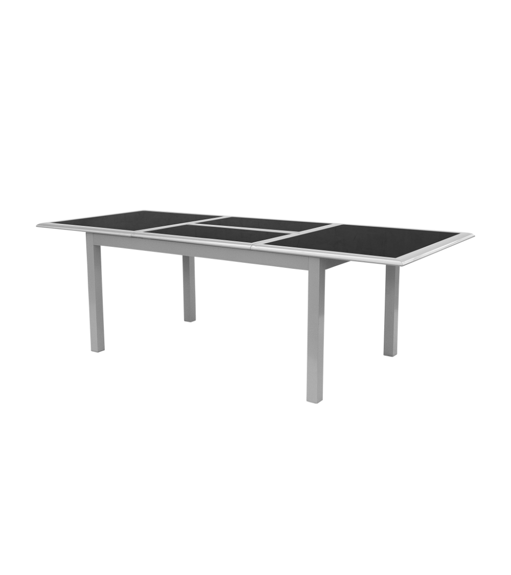Szklany stół rozkładany z aluminiową konstrukcją to doskonały wybór na wiele okazji.