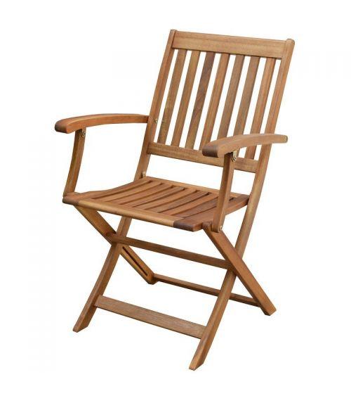 Drewniane krzesło ogrodowe doskonale komponuje się ze stołem z akacji.