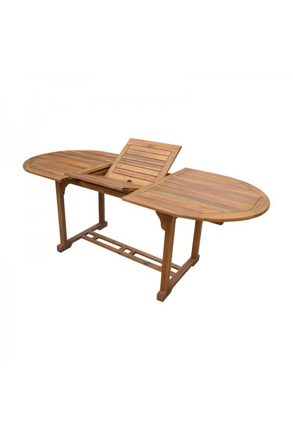 Drewniany stół ogrodowy z możliwością rozkładania blatu i otworem na parasol.