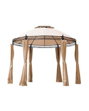 Pawilon namiot ogrodowy z podwójnym daszkiem zapewniającym swobodne spływanie wody oraz prawidłową cyrkulację powietrza.