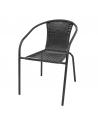 Czarne krzesło polirattan doskonale sprawdza się zarówno w ogrodzie, na balkonie czy tarasie, jak i w restauracji.