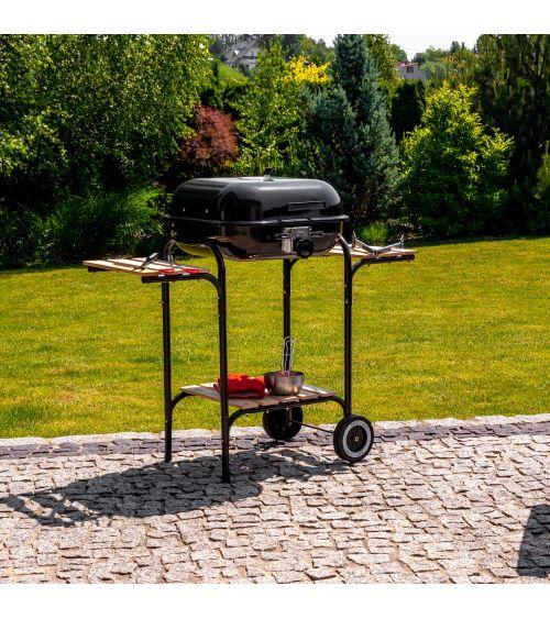 Grill ogrodowy na węgiel podsiada ruszt z płynną regulacją wysokości.