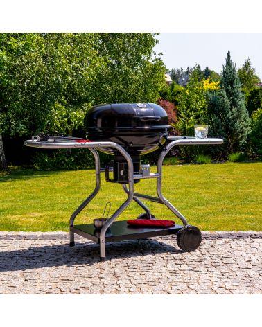 Kulisty grill węglowy dzięki pokrywie z regulacja przepływu powietrza umożliwia perfekcyjne przygotowanie potraw.