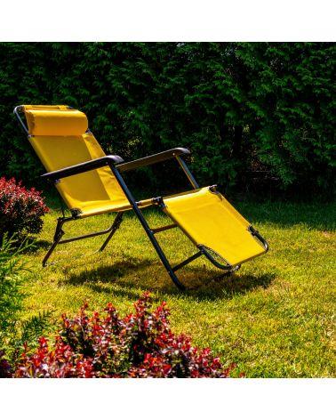Wygodny leżak ogrodowy w kolorze żółtym.