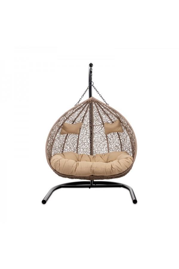 Dwuosobowy fotel wiszący z beżowymi poduszkami to miejsce, na chwilę dla Ciebie