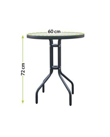 Okrągły stolik kawowy z blatem ze szkła hartowanego doskonale sprawdza się podczas wspólnej kawy.