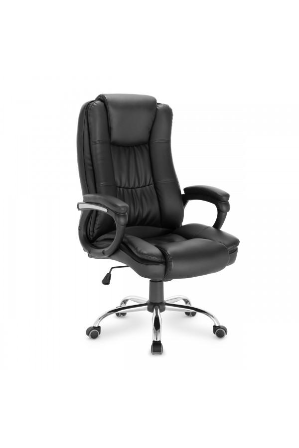 Komfortowy fotel biurowy z czarnej skóry