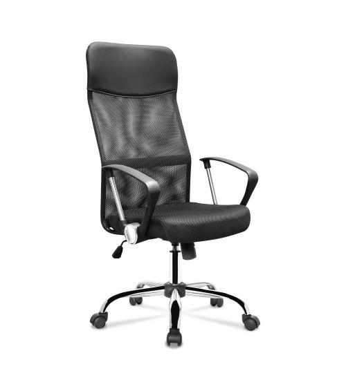 Ergonomiczny fotel biurowy z funkcją obrotu w kolorze czarnym.