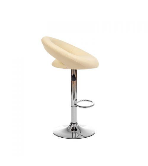 Wysokie krzesło do kuchni w kolorze beżowym.