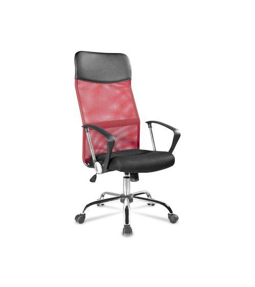 Czerwony fotel obrotowy do biura z ergonomicznie wyprofilowanym siedziskiem.