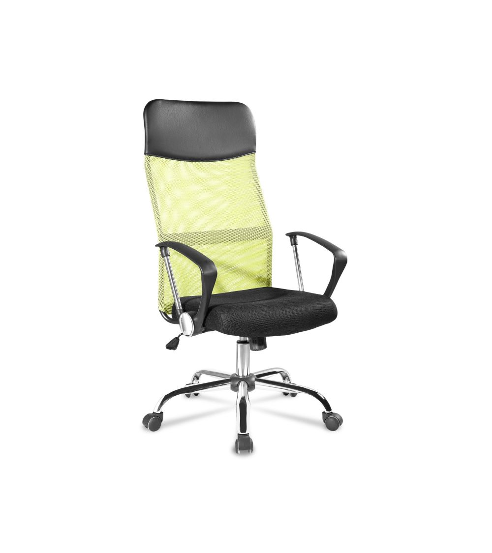 Ergonomiczny fotel biurowy z funkcją obrotu w kolorze zielonym.