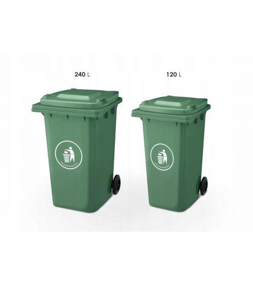 Kosz na śmieci o pojemności 120L w kolorze zielonym
