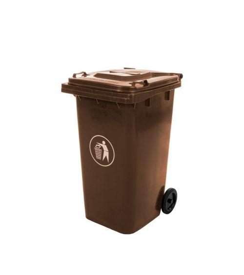 Kosz na śmieci 240L w kolorze brązowym z pokrywą i kołami transportowymi.