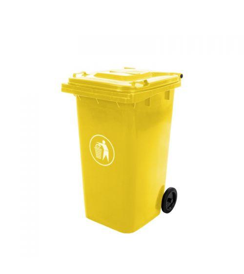 kosz na śmieci pojemnik na odpady kubeł żółty duży mocny
