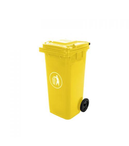kosz na śmieci kubeł żółty mocny 120L pojemnik na odpady komunalne