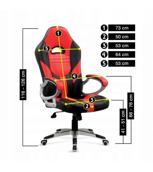 Fotel do biura w kolorze czerwonym z ergonomicznie wyprofilowanym siedziskiem.