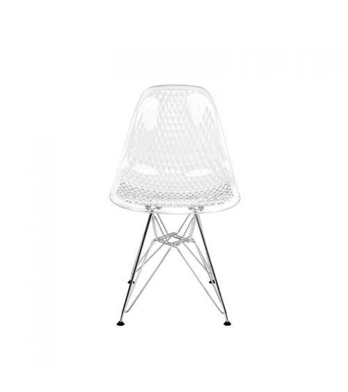 Transparentne krzesło do salonu - wygodne krzesło jadalniane