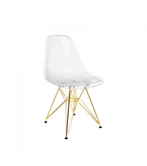 Nowoczesne krzesło skandynawskie z wygodnym oparciem i złotymi nogami