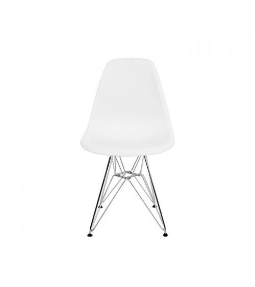 Krzesło skandynawskie w kolorze białym z wygodnym oparciem