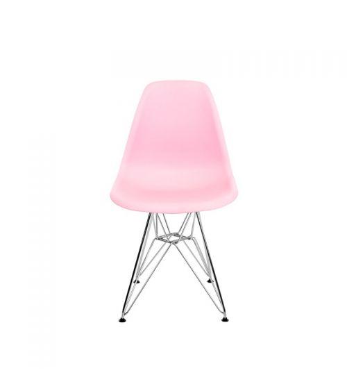 Krzesło skandynawskie w kolorze różowym z wygodnym oparciem