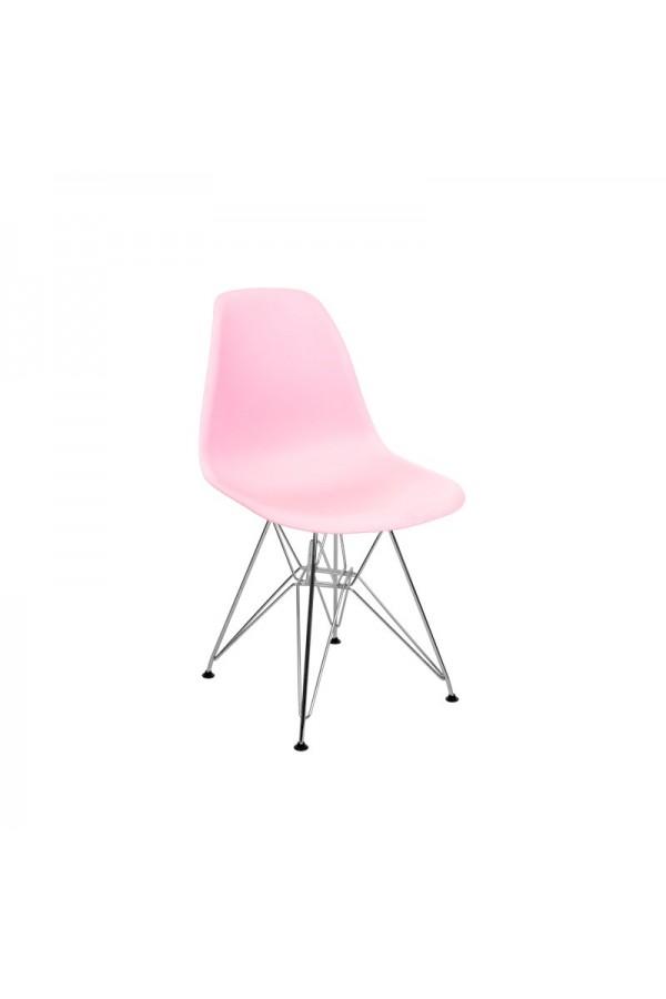 Nowoczesne krzesło do salonu w stylu skandynawskim różowe