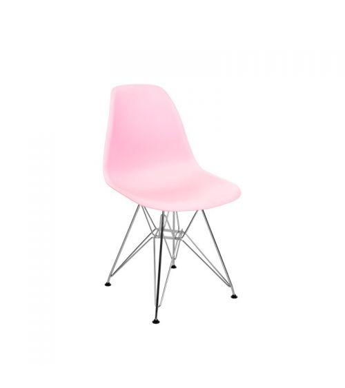 krzesło w stylu skandynawskim do salony nowoczesne różowe