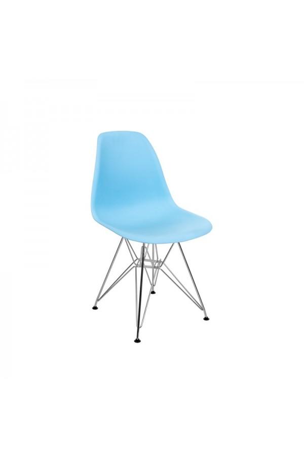 Krzesło skandynawskie w kolorze niebieskim z wygodnym oparciem
