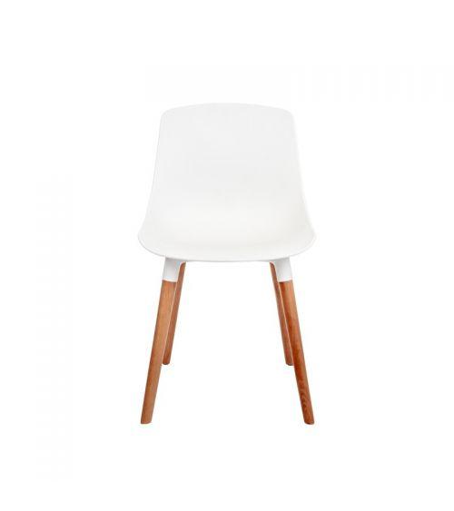 Białe krzesło do jadalni z drewnianymi nogami