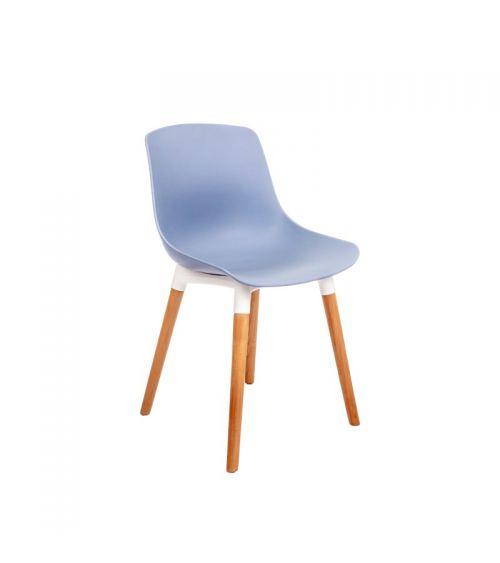 krzesło do jadalni w kolorze niebieskim na prostych drewnianych nogach